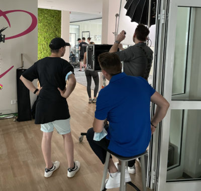Dreharbeiten in den Büroräumen von Leipzig Media