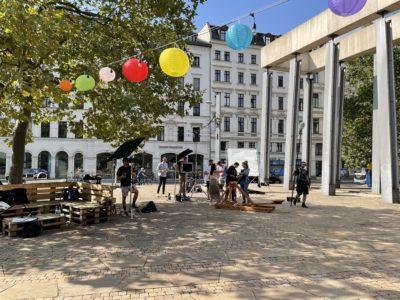 Leipzig Media Imagefilm: Dreh auf dem LVZ-Vorplatz